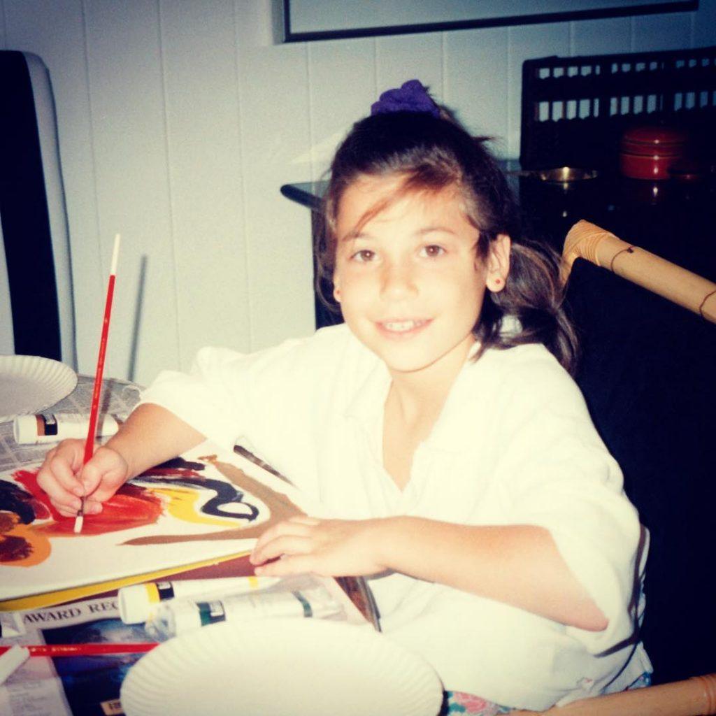 Lana Gomez Childhood Photo while Painting