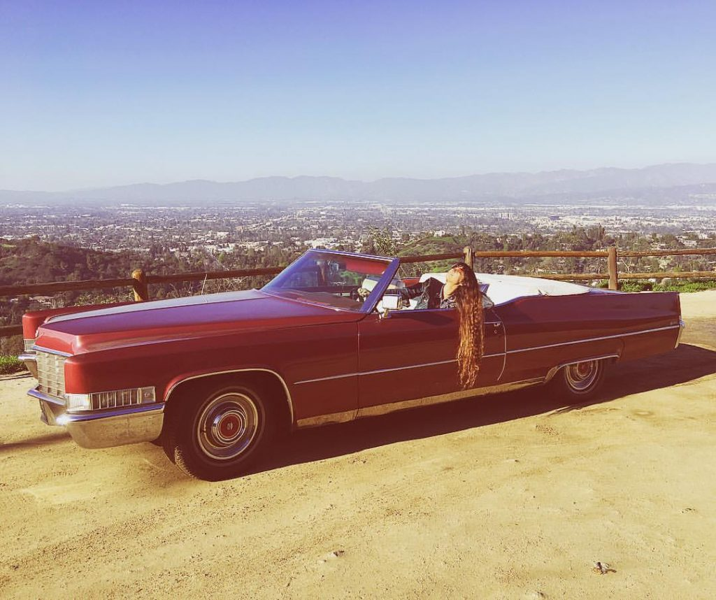 Angie King in Retro Car