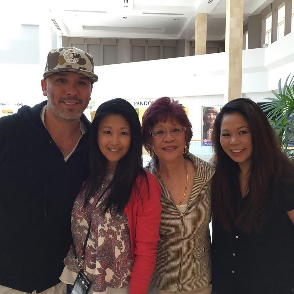 Jo Koy with his Mother Josie Harrison and Sister Rowena Hebert and Gemma Herbert