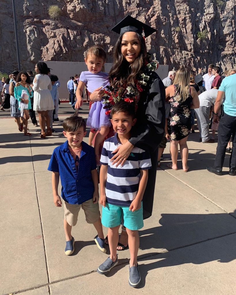 Kailey Amora Posing with her Siblings after Graduation