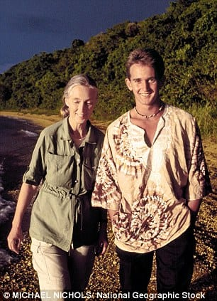Young Hugo Eric Louis with his mother Jane Goodall